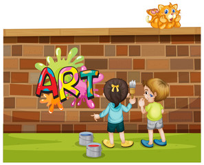 Spoed Foto op Canvas Kids Font design for word art with kids painting on the wall
