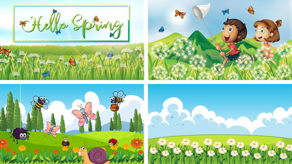Spoed Foto op Canvas Kids Four background scenes with children and animals in the park