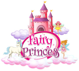 Font design for word fairy princess with fairies flying in sky
