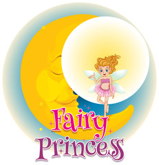 Poster design with word fairy princess with fairy flying around the moon