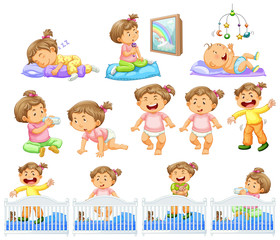 Set of baby girl doing different activities