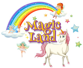 Spoed Foto op Canvas Kids Font design for word magic land with unicorn and fairies