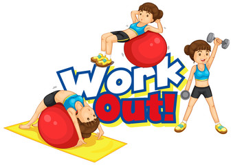 Spoed Foto op Canvas Kids Font design for word work out with girl doing many sports