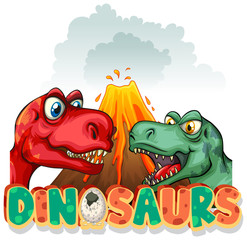 Spoed Foto op Canvas Kids Font design for word dinosaurs with two t-rexes