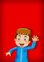 Background template design with muslim boy waving hand