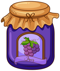 One jar of grape jam on white background