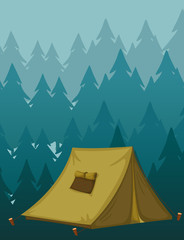 Scene background with tent in the dark forest