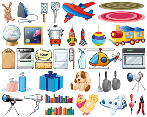 Large set of household items and toys on white background