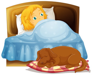 Spoed Foto op Canvas Kids Scene with little girl sleeping in bed with pet dog