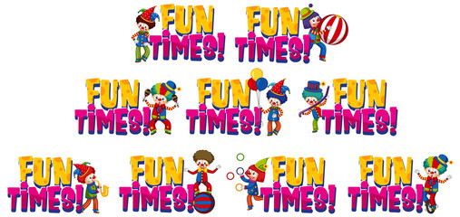 Set of word design for fun times with happy clowns
