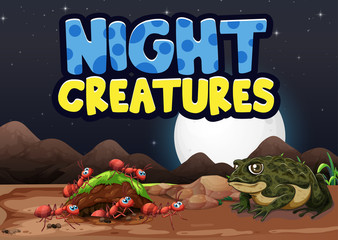 Scene background design with word night creatures