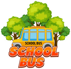 Spoed Foto op Canvas Kids Font design for word school bus with bus and trees