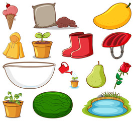 Spoed Foto op Canvas Kids Set of gardening items and other things on white background