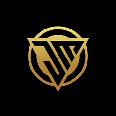 JM logo monogram with triangle shape and circle rounded isolated on gold colors