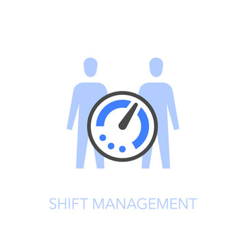 Employee shift management symbol with a timer and two people. Easy to use for your website or presentation.