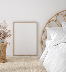 Mockup frame in Coastal boho style bedroom interior, 3d render