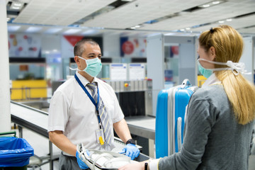 Airport security check vs coronavirus