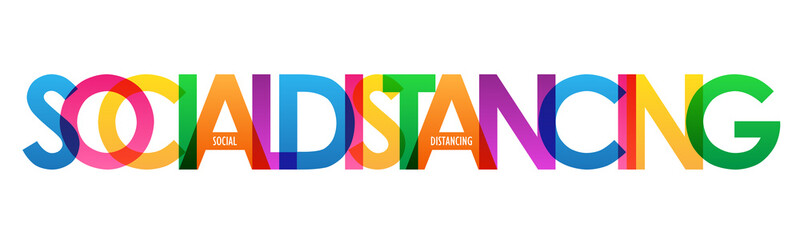 SOCIAL DISTANCING colorful vector typography banner