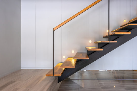Stairway lights bulb for illumination as safety protection wooden stairs architecture interior design, Modern house building