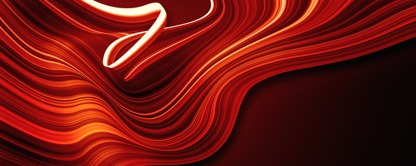 Poster de jardin Abstract wave red wave lines background