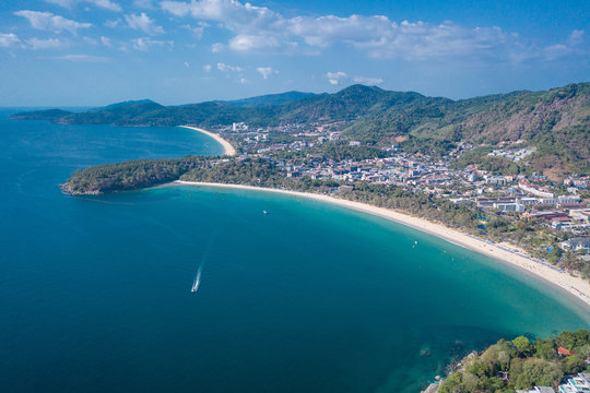 Aerial drone view of tropical Kata Noi Beach area in Phuket, Thailand
