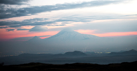 Beautiful landscape at sunset on Mount Ararat in Armenia.