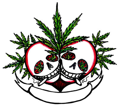 Marijuana Lover Skulls with Ribbon Copy Space