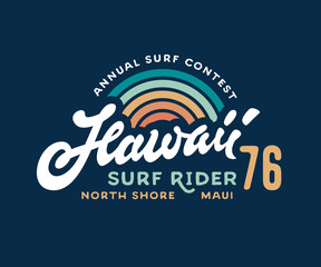Vintage Hawaii Surf Rider t shirt print