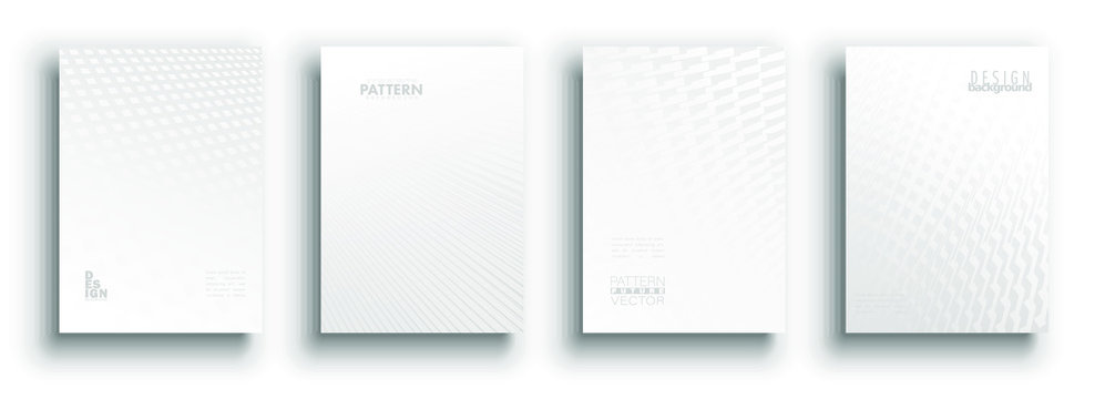 Minimal covers design. White set. Idustrial geometric patterns. Eps10 vector.