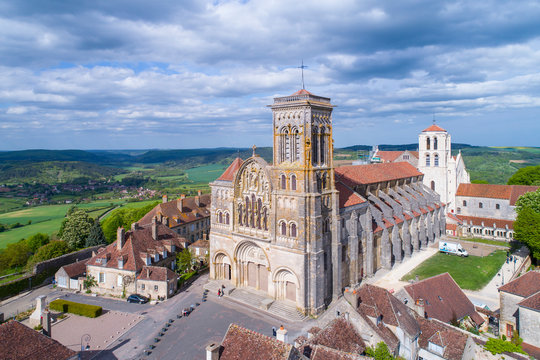 Aerial view of Vezelay, UNESCO world heritage site, Burgundy, France,