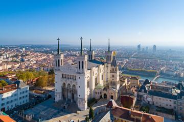 Fototapeta Lyon, Aerial view of Notre Dame de Fourviere Basilica obraz