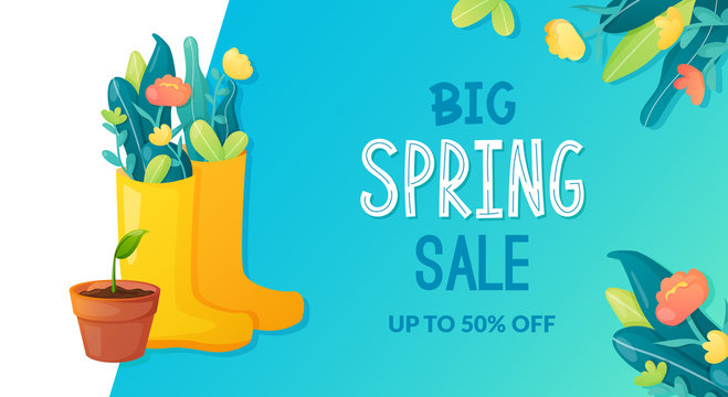 Spring sale ad text and garden flowers bouquet.