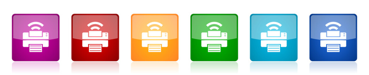 Printer icon set, colorful square glossy vector illustrations in 6 options for web design and mobile applications
