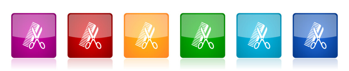 Haircut icon set, style, hair salon colorful square glossy vector illustrations in 6 options for web design and mobile applications