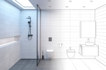 The sketch becomes a real minimalist shower room with a daylight lamp in the ceiling, shower, toilet, bidet, washbasin, mirror with black fittings. Front view. 3d render
