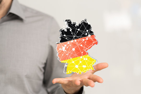 a virtual germany land  map digital in hand 3d