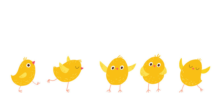 Set of cute little chickens. Cartoon vector hand drawn eps 10 illustration isolated on dark background in a flat style.