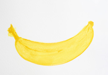 Watercolor hand painting illustration of yellow skin ripe banana fruit, sketch drawing on white background and coppy space