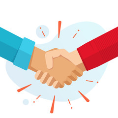 Hand shake hands or handshake vector flat cartoon illustration isolated, concept of success partnership friendship deal or welcome agreement gesture modern design image