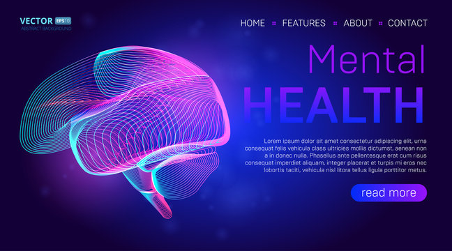 Mental health landing page background concept or hero banner design with human brain outline vector illustration. Medical healthcare website template for neurology learning or cancer illness therapy