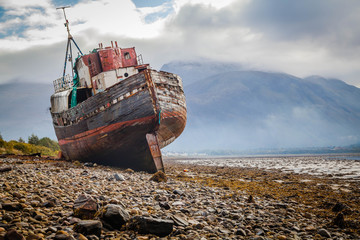 Wall Murals Ship Corpach shipwreck at Loch Linnhe