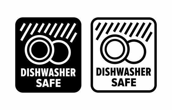 """""""Dishwasher safe"""" to high temperature and detergents information sign"""