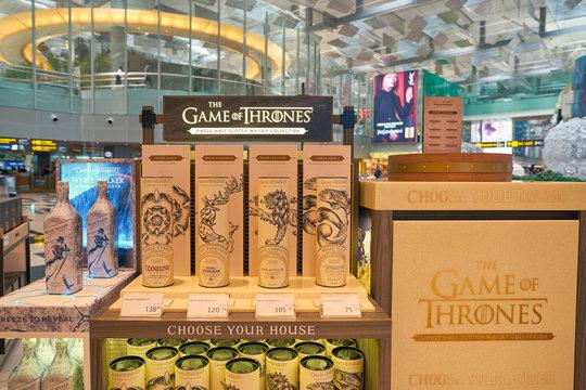 SINGAPORE - CIRCA APRIL, 2019: Game Of Thrones whiskies on display at Changi Airport, Terminal 3