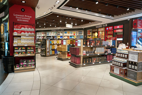 SINGAPORE - CIRCA APRIL, 2019: interior shot of DFS Wine & Spirits shop at Singapore Changi Airport.