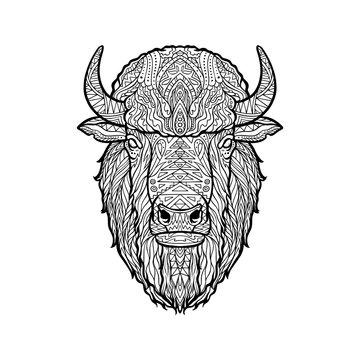 Vector illustration of bison head zentangle