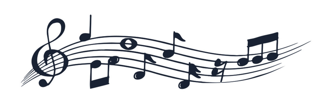 black notes on a white background