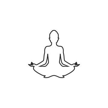 Yoga line icon. lotus position silhouette. Vector shape