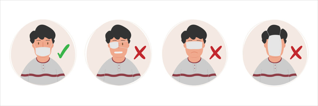 How to wear medical mask correctly and how to wear wrong. Wearing the mask correctly will make it safe. vector illustration.