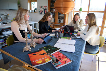 Students study at home as high schools have closed in the country due to coronavirus outbreak, in Stockholm