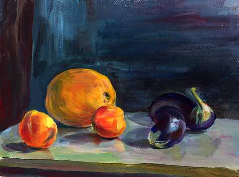 Still life  with acrylic painting of ripe peach, orange melon,  violet eggplants on table on blue background. Hand painting texture, beautiful design for interior, banner, print, decoration